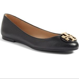 Tory Burch Leather Claire Ballet Flats Black 9